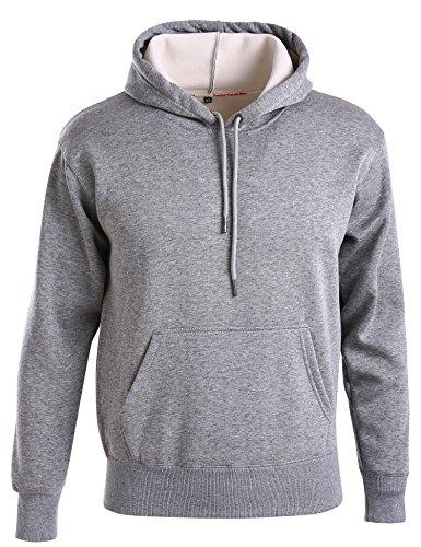 Bovene Men's Pullover Hooded Sweatshirt Fleece Sports Hoodie With Front Pocket (Grey, Small) (Hooded Sport Pullovers Fleece)