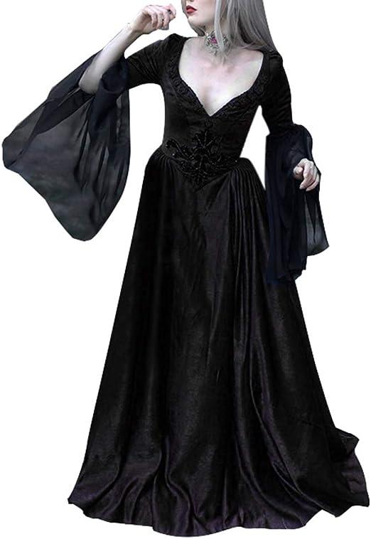 Medieval Mujer Vintage Vestidos de Fiesta Suelo Longitud Vestido ...