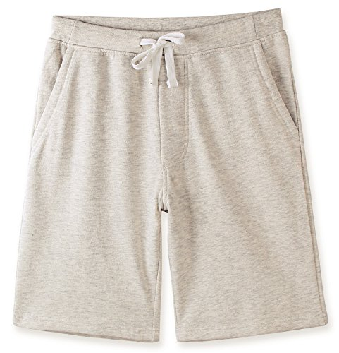 HETHCODE Men's Casual Classic Fit Cotton Elastic Fleece Jogger Gym Shorts Heather Oatmeal XL - Mens Classic Knit Pant