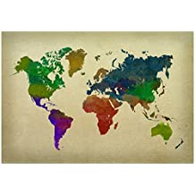 World Map Watercolor Collections Poster Print, 19x13