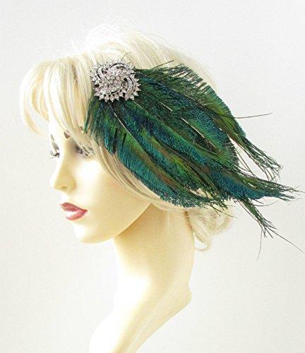 Silver Green Peacock Feather Headpiece 1920s Fascinator Hair Clip Vintage 843