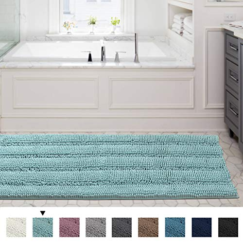 59x20 inch Oversize Non-Slip Bathroom Rug Shag Shower Mat Soft Thick Floor Mat Machine-Washable Bath Mats with Water Absorbent Soft Microfibers Long Striped Rugs for Powder Room, Duck Egg Blue ()