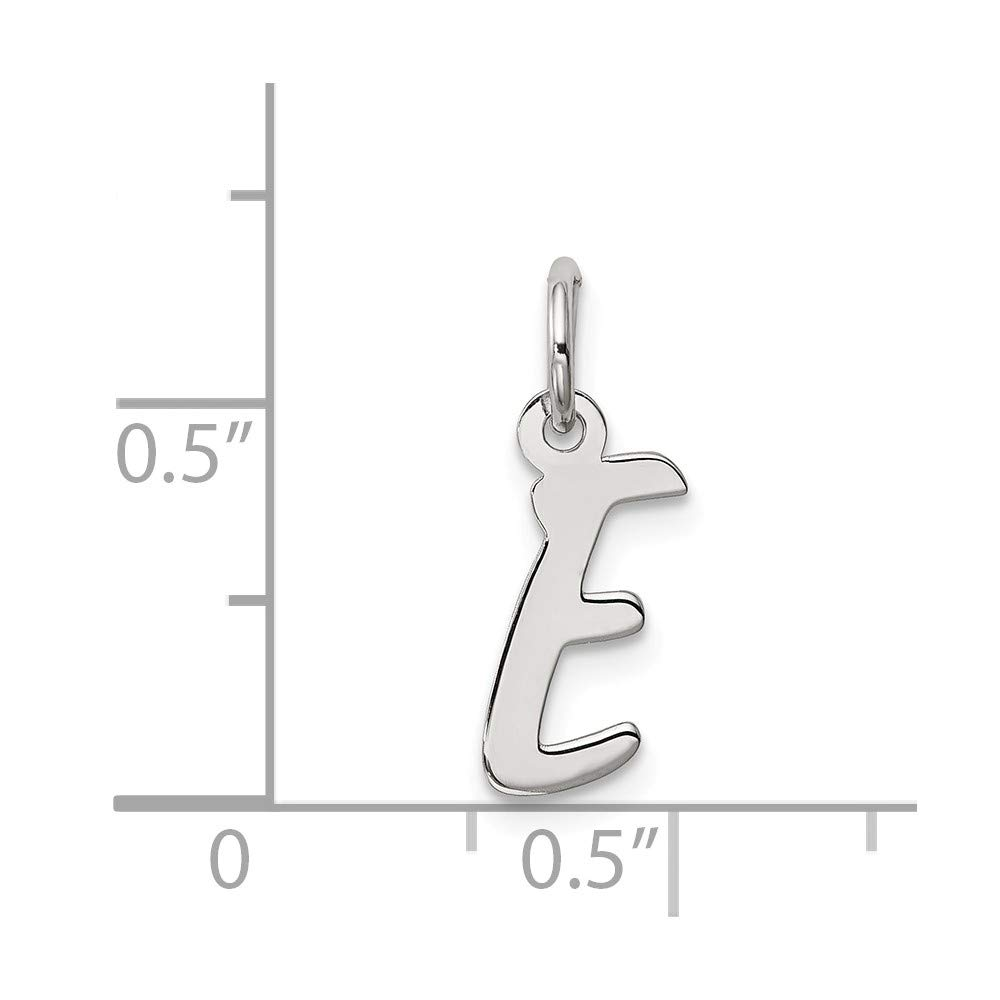 925 Sterling Silver Rhodium-plated Small Letter Initial E Charm