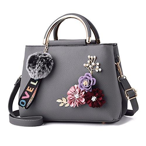 DEI QI Bolso de hombro de las señoras Bolso de mensajero Temperamento simple Flor estérea/Moda/Personalidad/Comodidad (Color : Negro) Gris