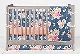 Girls Vintage Blue Floral Crib Bedding Set- Girl crib bedding set Featuring Crib Bumper, Crib Skirt, Crib sheet, and Crib Blanket - Handmade in the USA by Twig + Bird