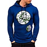 Mens Sweatshirt,FUNIC Men Printed Coat Jacket Sweater Swearshirt Hoodie Long Sleeve Outwear Tops (L, Blue)
