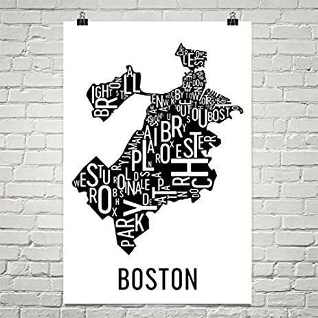 Boston Typography Neighborhood Map Art City Print, Boston Wall Art, Boston  Art Poster,