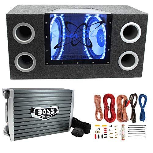 "Pyramid BNPS122 12"" 1200W Car Audio Subwoofer + Box + 1500W Mono Amp + Amp Kit"