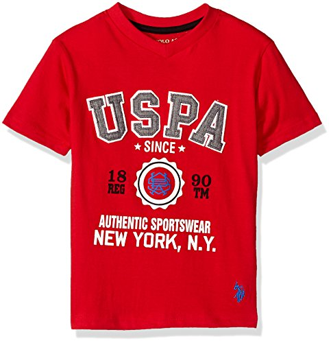 (U.S. Polo Assn. Big Boys' Short Sleeve Fancy V-Neck T-Shirt, Authentic Sportswear New York Engine Red, 14/16)
