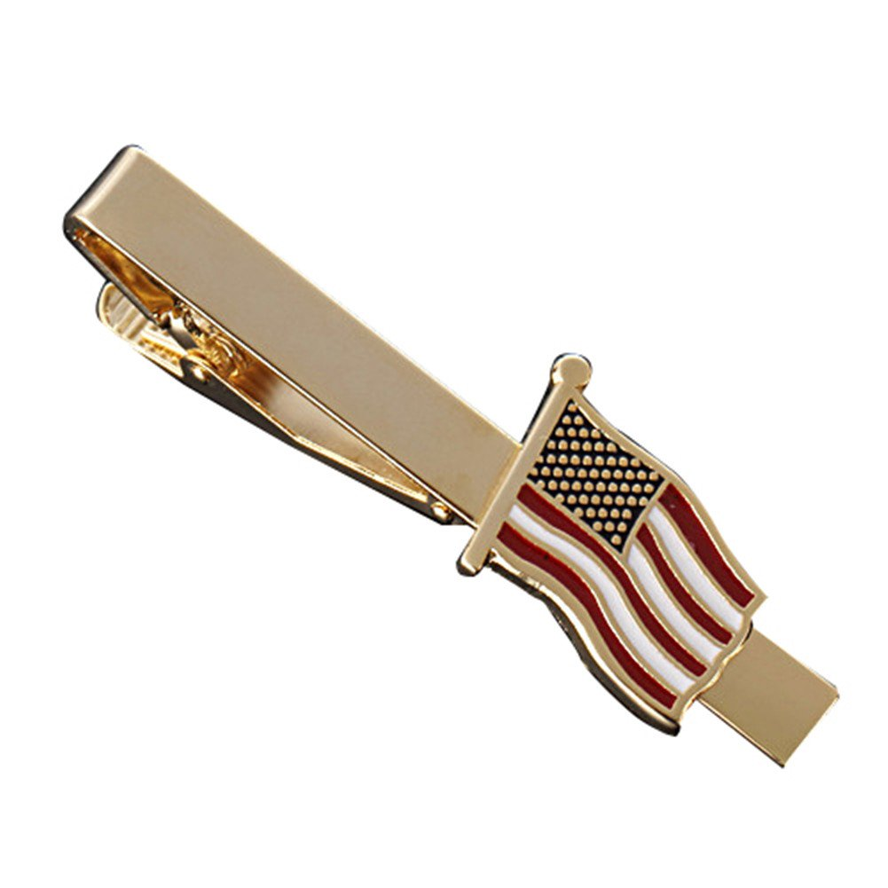 MGStyle Tie Bar Pinch Cilp For Men - 2.16 Inch For Regular Ties - the Old Glory Stars & Stripes American Flag - Gold Tone - Stainless Steel with Deluxe Gift Box by MGStyle (Image #1)