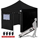 Cheap New Eurmax Basic 10×10 Ez Pop Up Canopy Outdoor Canopy Instant Tent with 4 zipper Sidewalls and Roller Bag,Bouns 4 weight bags (Black)