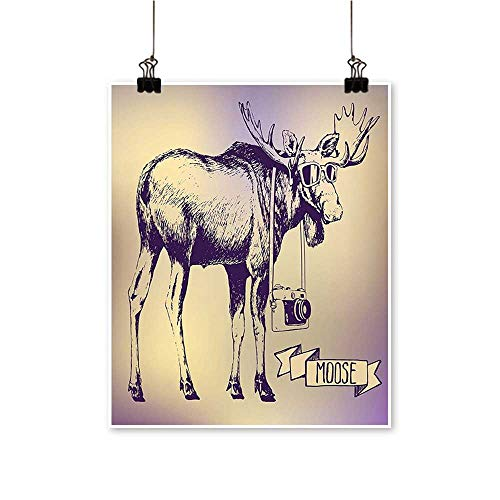 Hanging Painting Deer with Shades Sunglasses and Camera Vintage Ombre Design Funny Animal Art Purple Rich in Color,28