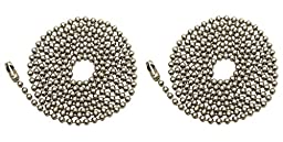 Pack Of 2 Pull Chain Extension, 36 Inch, Brushed Nickel 3-Feet Beaded Ball Chain With Connector