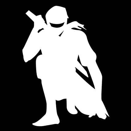 Auto Vynamics - NINJA-CHAR02-5-GWHI - Gloss White Vinyl Ninja Warrior Silhouette Decal - Crouched / Crouching 01 Design - 3.625-by-5-inches - (1) ...