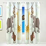 Vantaso Window Curtains 84 Inch Long Forest Animals Elephant Monkey for Kids Girls Boys Bedroom Living Room Light Shading Polyester 2 Pannels