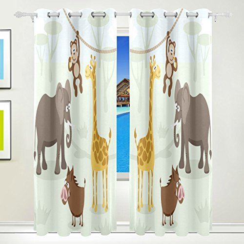 Vantaso Window Curtains 84 Inch Long Forest Animals Elephant Monkey for Kids Girls Boys Bedroom Living Room Light Shading Polyester 2 Pannels by Vantaso