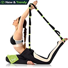 Liryo Yoga Strap with Loops - Include Cooling Towel, Exercise Poster, e-Book & Carry Bag