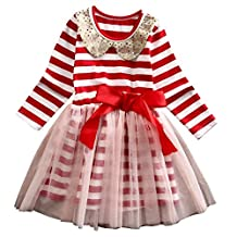 Christmas Toddler Baby Girls Princess Stripe Tulle Party Dress Clothes Outfits