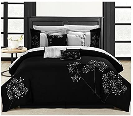 Amazon.com: Chic Home 8 Piece Pink Floral Comforter Set, Queen