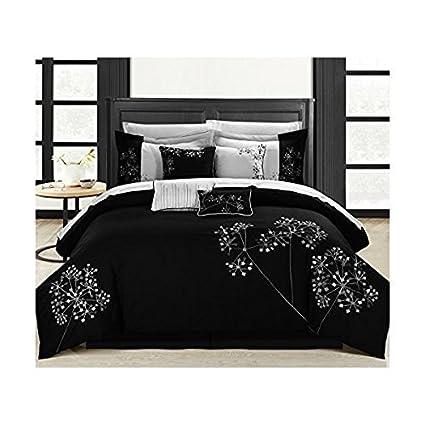 Amazoncom Chic Home 8 Piece Pink Floral Comforter Set Queen Black