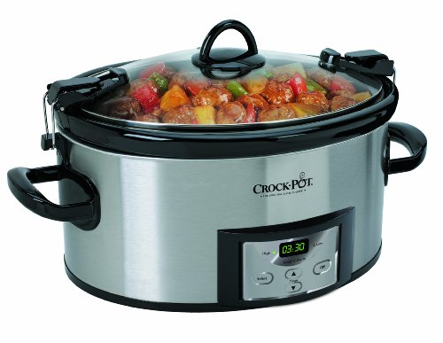 Crock-Pot 6-Quart Programmable Cook & Carry Slow Cooker with Digital Timer, Stainless Steel , SCCPVL610-S
