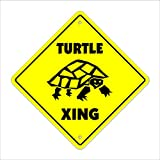 "Turtle Crossing Sign Zone Xing | Indoor/Outdoor | 12"" Tall new turtles tortoise pet animal reptile sea"