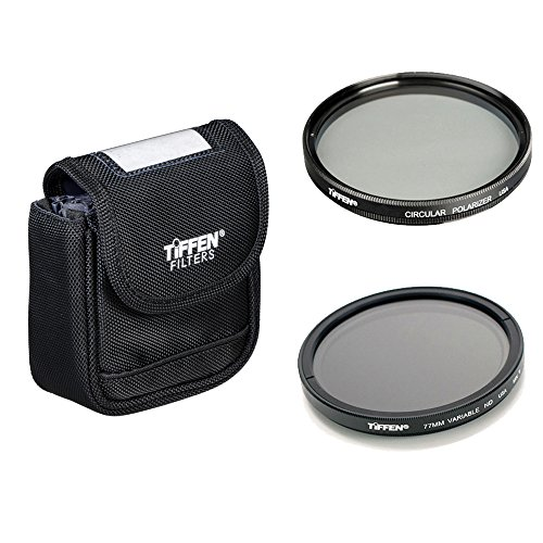 Tiffen 77mm Variable Neutral Density Filter Plus Tiffen 77mm Circular Polarizer Filter and Tiffen Belt Filter Pouch Kit by Tiffen