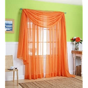 LuxuryDiscounts 2 Piece Solid Elegant Sheer Curtains Fully Stitched Panels Window Treatment Drape 54