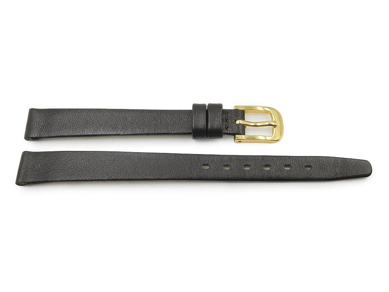 10 mm Genuineレザーブラウンレディーススムースフラット腕時計ストラップ  B06WD1XRJX