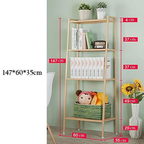 ZHIRONG 4-Tier Storage Shelf Bookcase Display Ladder Shelf Wall Organizer Rack 6035147CM (Color : Gold) ()