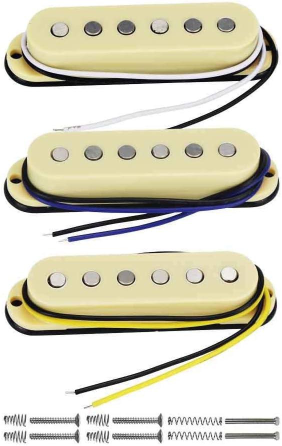 FLEOR Juego de pastillas de guitarra eléctrica-cuello/medio/puente Alnico 5 pastillas de bobina simple para piezas de guitarra estilo Stratocaster, crema