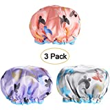 Shower Caps, 3 PACK Bath Cap for Women Waterproof & Adjustable Double Layered Shower Cap