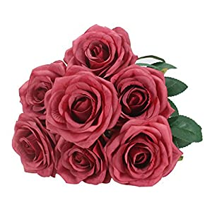 Duovlo 7 Heads Vintage Silk Artificial Flowers Bouquets Plastic Wedding Centerpieces Arrangements Decorations (Red) 59