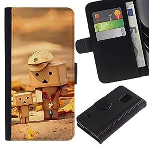 LASTONE PHONE CASE / Lujo Billetera de Cuero Caso del tirón Titular de la tarjeta Flip Carcasa Funda para Samsung Galaxy S5 V SM-G900 / Toys 3D Figurine Wood Art Child Cute Autumn