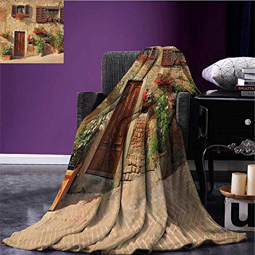 Tuscan Cozy Flannel Blanket Picturesque Lane with Mediterranean Architecture Flowers Italian Town Oversized Travel Throw Cover Blanket Brown Pale and Brown Bed or Couch 70