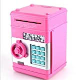 URToys Creative New Design Piggy Bank Mini ATM Money Box Safety Electronic Password Chewing Coins Bank Cash Deposit Machine Birthday Gift for Children Kids Pink Color