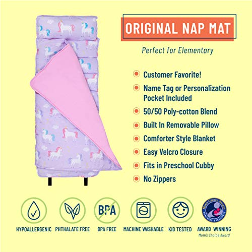 Wildkin Original Nap Mat with Pillow for Toddler Boys and Girls, Ideal for Daycare and Preschool, Measures 50 x 1.5 x 20 Inches, Mom's Choice Award Winner, BPA-Free, Olive Kids (Unicorn)