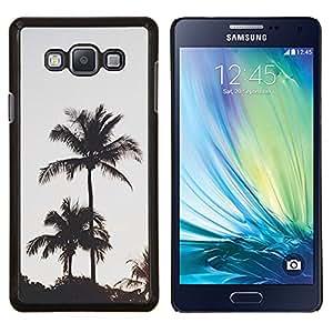 Los árboles de la tarde Puesta de sol- Metal de aluminio y de plástico duro Caja del teléfono - Negro - Samsung Galaxy A7 / SM-A700