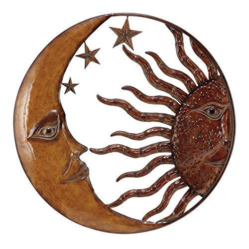 Deco 79 Metal Sun Moon Wall Decor, 21-Inch (Outdoor Metal Wall Hangings)