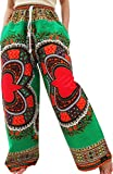 Raan Pah Muang RaanPahMuang Baggy Straight Leg Carnival Dashiki Print Unisex Pants Heart Print, Medium, Heart Print Green For Sale