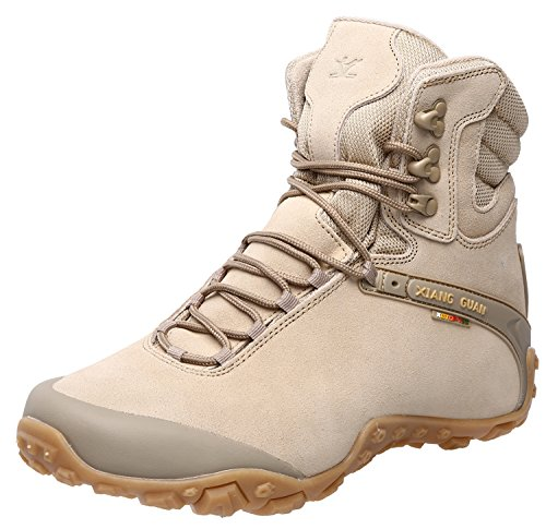 (XIANG GUAN Women's Outdoor High-Top Waterproof Trekking Hiking Boots Sand 7.5)