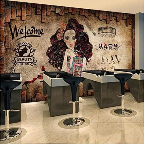 装飾画 3dパーソナリティ理髪店の壁紙ヨーロッパのレトロなノスタルジックなレンガの壁画ヘアサロン背景壁髪美容サロン壁紙