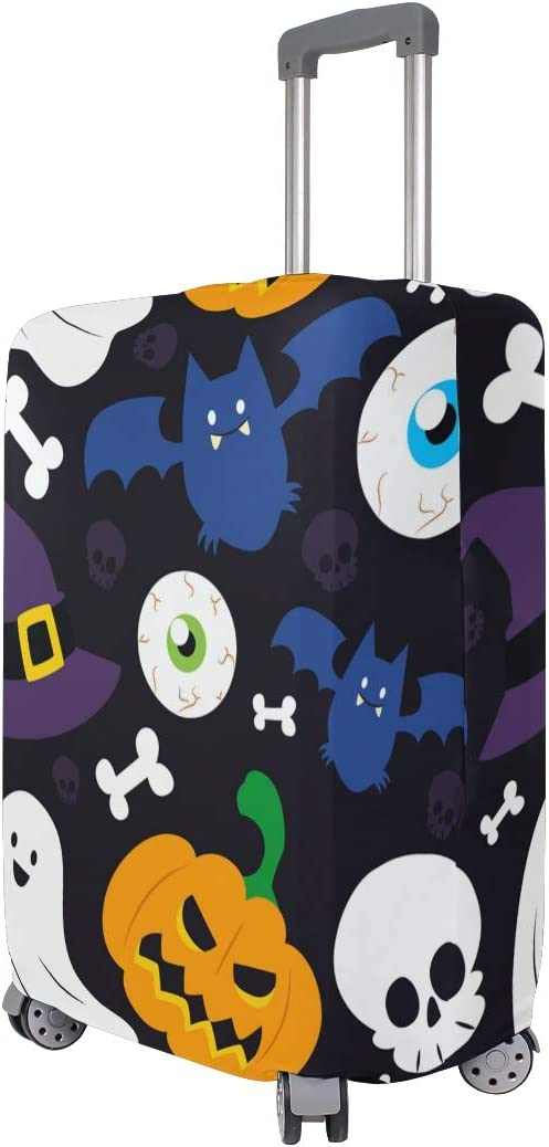 FOLPPLY Halloween Background Pumpkin Skull Luggage Cover Baggage Suitcase Travel Protector Fit for 18-32 Inch