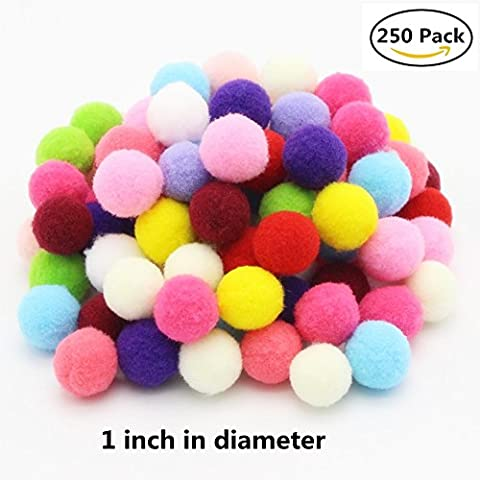 Pompoms Craft Assorted Colors Acrylic Hobby Supplies 1 Inch Round Pack of 250 - Craft and Hobby Supplies