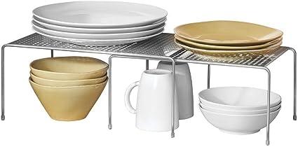 mDesign Estantería metálica extensible – Crea más espacio – Práctica estantería cocina para ampliar superficie de apoyo de platos y vajilla – Baldas ...