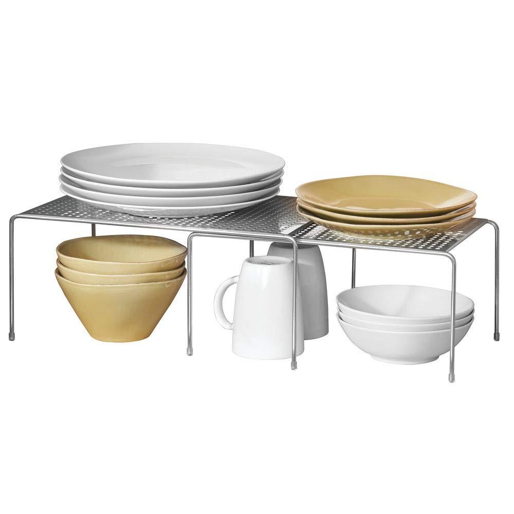 mDesign Estantería metálica extensible – Crea más espacio – Práctica estantería cocina para ampliar superficie de apoyo de platos y vajilla – Baldas cocina ...