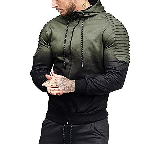 WM & MW Mens Casual Sport Patchwork Pleats Long Sleeve High Neck Zipper Hooded Sweatshirt Jacket Tracksuits Tops at Amazon Mens Clothing store: