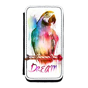 Watercolor Parrot Premium Faux PU Leather Case Flip Case for iPhone 5C by Gangtoyz + FREE Crystal Clear Screen Protector
