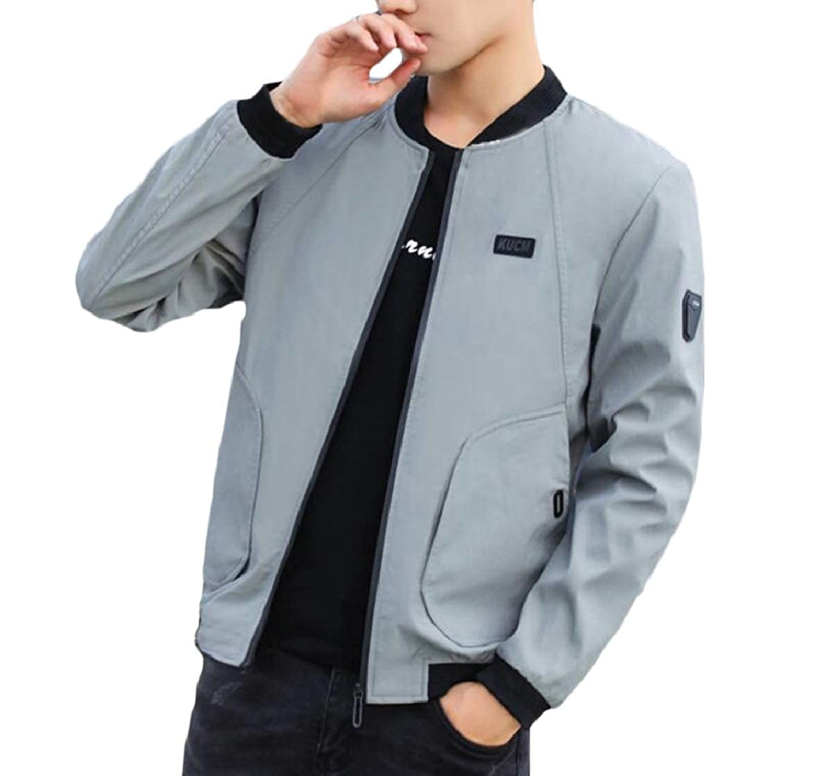 72a014084 Grey pujingge-CA Men's Fashion Long Sleeve Lightweight Slim Stand Stand  Stand Collar Zipper Jackets 01cf48