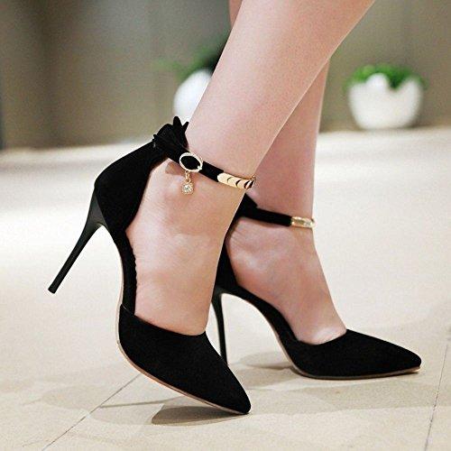 Zapatos Orsay D Sandalias Tobillo Senora Moda 748 Aguja COOLCEPT de Negro de Correa Zapatos Tacon para Mujer qEwtIn8xX